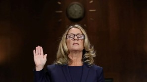 Christine Blasey Ford is sworn in before testifying the Senate Judiciary Committee in the Dirksen Senate Office Building at the Capitol Hill in Washington